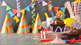 Magdalenas para el cumpleaños Imagen de archivo libre de regalías