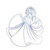 Magdansösfärgpulver skissar gestteckningen Royaltyfri Foto