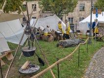 Magdebourg, Allemagne - 29 08 2014 : Reconstruction de Kaiser-Otto-Fest des événements historiques de la ville Camp prussien d'ar photos stock