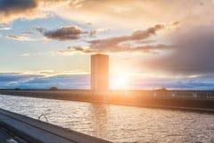 Magdeburg γέφυρα νερού, πέρα από το κανάλι Elbe-Havel ποταμών στο φως ηλιοβασιλέματος, Σαξωνία, Γερμανία Στοκ Εικόνα