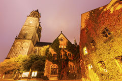 Magdeburg Cathedral at night Stock Images
