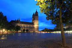 Magdeburg cathedral at sunset Royalty Free Stock Images
