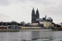Magdeburg cathedral in winter Stock Photo