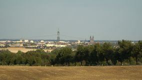 Magdeburg, Germany - View of the two towers of Magdeburg Cathedral.  stock video