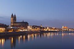 Magdeburg night skyline Royalty Free Stock Photos