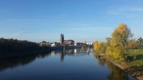 Magdeburg på hösten Arkivbilder