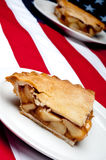 Mage of 2 pcs of apple pie on the American flag Royalty Free Stock Photography
