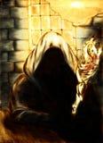 Mage en luz de oro stock de ilustración