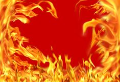 ımage of fire flame. Close up fire flames  on red background Stock Photos