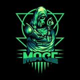 Mage mascot mystical vector design illustration royalty free illustration