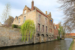 Mage with Rozenhoedkaai in Brugge, Dijver river canal Royalty Free Stock Image