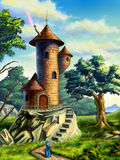 Mage tower. Fantasy landscape with a mage tower. Digital illustration Royalty Free Stock Photography