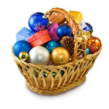 Mage of various Christmas decorations in basket Stock Photo