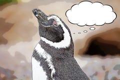 Magellanic企鹅蠢企鹅magellanicus动画片 库存例证