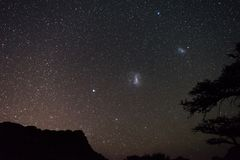 Magellanic Clouds astro starry sky, Namibian night, Africa. Acacia trees in the foreground. Adventure into the wild. Magellanic Clouds astro starry sky stock image