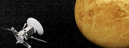 Magellanruimtevaartuig dichtbij 3D Venusplaneet - geef terug Stock Afbeeldingen
