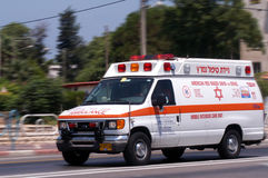 Magen David Adom Israeli Ambulance Royaltyfria Foton