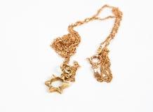Magen David gold necklace. Closeup Stock Image