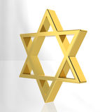 Magen David (Star of David) gold. Gold 3d model of the jewish symbol Stock Photos