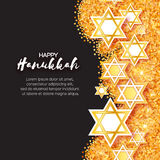 Magen David stars. Papercraft jewish holiday simbol. On gold glitter background. Vector design illustration Royalty Free Stock Photos