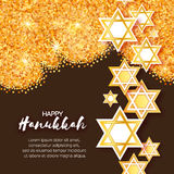 Magen David stars. Papercraft jewish holiday simbol. On gold glitter background. Vector design illustration Stock Image
