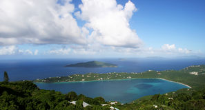 Magen's Bay in St Thomas. Panorama of Magen's Bay in the Caribbean island of St Thomas royalty free stock image