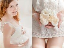Magen und Hände der schwangeren Frau Stockbild