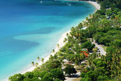 Idyllic tropical beach at Magens bay, St. Thomas USVI, close-up view Royalty Free Stock Images