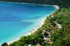 Idyllic tropical beach at Magens bay, St. Thomas, USVI, zoomed view stock images