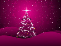 Magenta background with xmas tree Royalty Free Stock Image