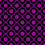 Magenta on black club and circle seamless repeat pattern background vector illustration