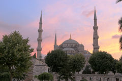 Magenta Blue Mosque. The Blue Mosque in the magenta hues of sunset.  Located in Istanbul, Turkey.  It was completed in 1616 by Sultan Ahmed I Stock Images