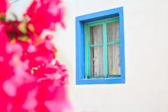 Magenta bougainvillea flowers near window of Stock Photo
