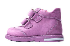 Magenta children`s boot isolated Royalty Free Stock Image
