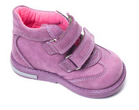 Magenta children`s boot Stock Photos