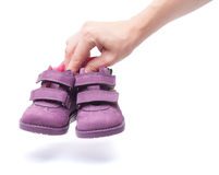 Magenta children`s boots Royalty Free Stock Photos