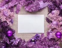 Magenta christmas wreath with blank card Stock Images