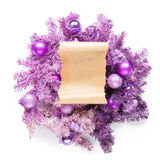 Magenta christmas wreath with parchment on white Stock Photography