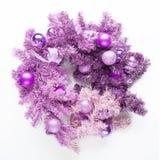 Magenta christmas wreath on white background Royalty Free Stock Image