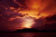 Magenta color of sunset twilight sky. Magenta color of sunset twilight sky and cloud background stock photography