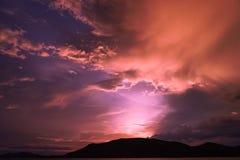 Magenta color of sunset twilight sky. Magenta color of sunset twilight sky and cloud background stock image
