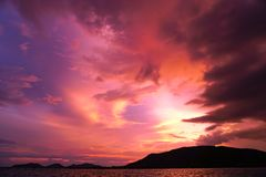 Magenta color of sunset twilight sky and cloud background. Magenta colorful color of sunset twilight sky and cloud background royalty free stock photo