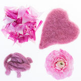 Magenta colored. Collage of four magenta objects in front of a white background Stock Photography