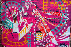 Magenta coloured graffiti wall art Royalty Free Stock Images