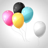 Magenta cyan yellow black balloons. CMYK concept Royalty Free Stock Images