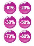 Magenta discount tags. Six discount tags (icons) from 10% to 80 Stock Photo