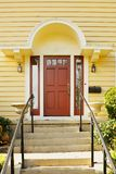 Magenta Door yellow home Royalty Free Stock Photo