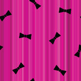 Magenta flat striped seamless background with black gentleman bows Stock Photography