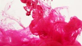 Magenta gekleurde vloeistof die langzaam stromen stock videobeelden