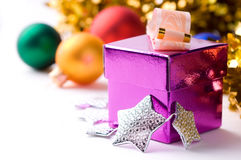 Magenta gift box on christmas background Stock Photos
